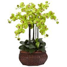 home decoration calming green fake floral arrangements