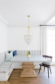 Breakfast Nook Chandelier Gray Pedestal Dining Table With White Beaded Chandelier