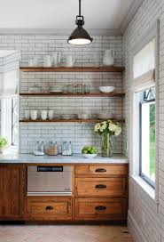 durable quartzite countertop rustic wood cabinets subway tile