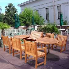 Patio 7 Piece Dining Set - vifah v144set21 wood 7 piece patio dining set with oval extension