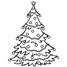 White Christmas Tree With Black Decorations Christmas Coloring Pages Christmas Clip Art Clip Art For