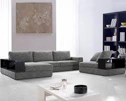 Modern Gray Leather Sofa by Grey Fabric Sectional Sofa Set 44l0739