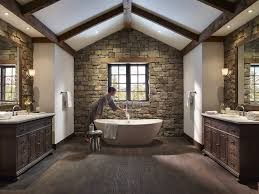 analogous color scheme with stone wall bathroom rustic and