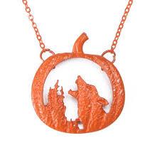 wolf halloween pumpkin necklace onepunz