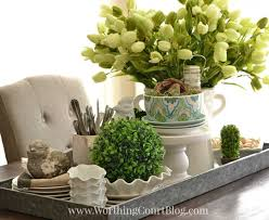 Centerpieces For Kitchen Table by Kitchen Table Spring Centerpiece On A Galvanized Steel Tray The
