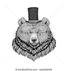 stock illustrations of grizzly bear hipster style animal image for