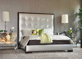 bedroom modern mirrored nightstand design with beds and rugs for
