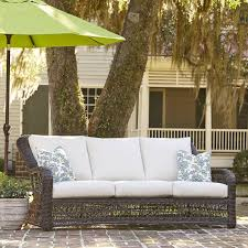Rattan Settee Rosemead Wicker Sofa With Sunbrella Cushions U0026 Reviews Birch Lane
