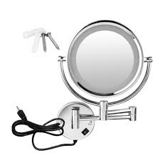 magnification mirror with light excelvan wall mounted led double side swivel lighted wall mount