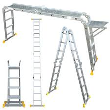 abbey aluminium multi purpose ladder 4 7m with new safety platform