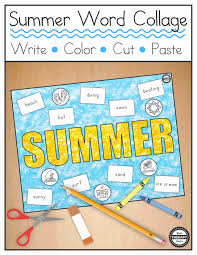 zaner bloser writing paper printable summer word collage handwriting color cut and paste your summer word collage handwriting color cut and paste your therapy source