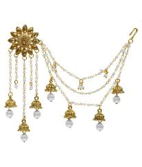 design of earing aadita bahubali design heavy earrings with hair chain for women