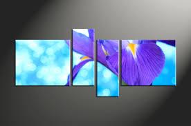 4 piece blue purple lily flower canvas wall art