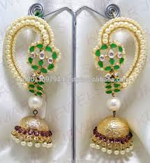 kaan earrings big kundan kaanphool earrings buy kundan earring designs indian