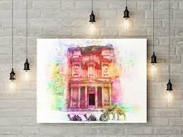 world of wonders home decor petra watercolor poster petra watercolor print jordan