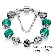 fashion jewelry charm bracelet images Newest elegant silver diy charm bracelet for women chain green jpg
