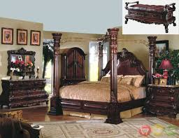 Master Bedroom Bed Sets King Cherry Poster Luxury Canopy Bed W Leather Headboard Master