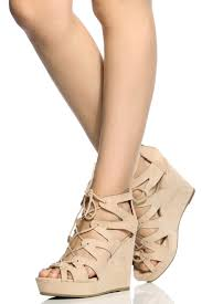 faux suede cut out lace up wedges