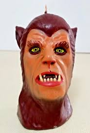 vintage halloween wolfman candle wax novelty party table home