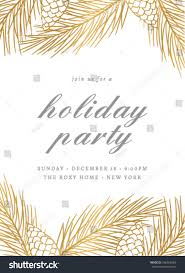 holiday party invitation template pines cones stock vector