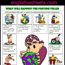 simple future tense the fortune teller esl printable grammar