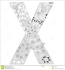 letter x for coloring vector decorative zentangle object stock