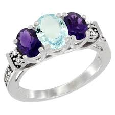 natural amethyst rings images 14k white gold diamond jewelry 3 stone rings aquamarine jpg