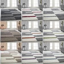Esszimmer Grau Rot Hochflor Shaggy Teppiche Gestreift Grau Grün Rot Beige Wohnzimmer