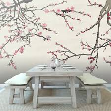 Temp Wallpaper by Asian Blossom Plum Almond Branches Mural Casart Coverings