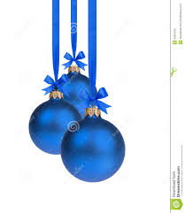composition from three blue balls hanging on ribbon