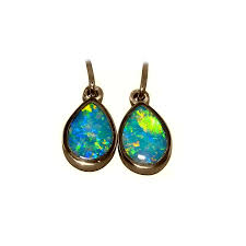 turquoise opal earrings short drop pear opal earrings 14k gold flashopal