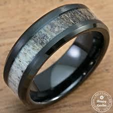beveled ring black tungsten carbide beveled edge ring with elk antler inlay