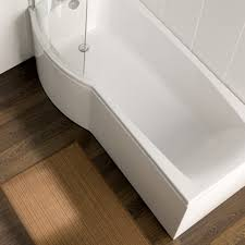 carron delta 1600mm space saving p shaped shower bath uk