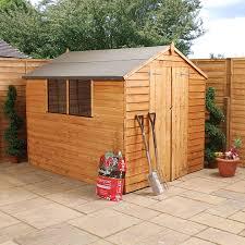 wooden overlap apex garden shed with door co uk