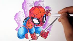 how to draw spiderman step by step chibi style youtube