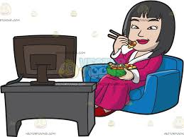 Couch Cartoon An Asian Woman Eating Chinese Food While Watching Tv Cartoon
