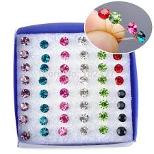 allergy free jewelry wholesale 24pairs pack fashion multicolor rhinestone
