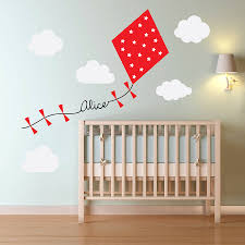 personalised kite and clouds wall sticker kites wall sticker personalised kite and clouds wall sticker