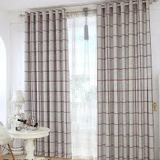 Country Plaid Curtains Quality Linen Jacquard Gray Living Room Plaid Curtains