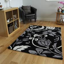 Floral Round Rugs Rug Black And Grey Rug Wuqiang Co