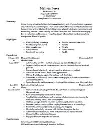 Babysitter Resume Examples by Nanny Cv Example For Personal Services Livecareer Resume Examples