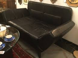 Nicoletti Leather Sofa by Sold Ca 70s Nicoletti Black Full Hide Italian Leather Sofa With