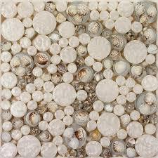 Penny Round Mosaic Tile Crystal Glass Shell Tile Backsplash Pebble - Pebble backsplash