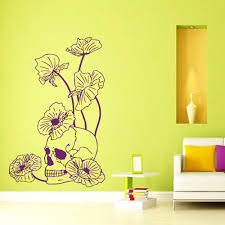 wall vinyl decal sticker skull poppies dangerous flowers art wall vinyl decal sticker skull poppies dangerous flowers art interior decor wall art mural decoration sticker 56x38cm in wall stickers from home garden on