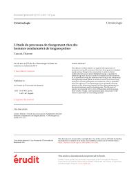 bureau de l ex ution des peines l étude du processus de changement chez pdf available