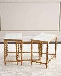 marble top nesting tables and white inset marble nesting tables