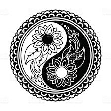 henna coloring pages vector henna tatoo mandala yinyang decorative symbol mehndi style