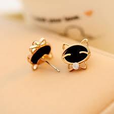 cat stud earrings smiling cat stud earrings