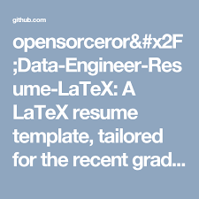 Latex Resume Format Opensorceror Data Engineer Resume Latex A Latex Resume Template