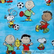 boneful fabric fq cotton aqua blue charlie brown snoopy peanuts